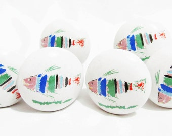 6 x Retro Fish Ceramic Knobs Cabinet Kitchen Furniture Cupboard Drawer Pull Handle
