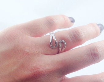Hammered Sterling Silver Abstract Ring