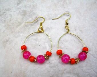 Hoop Earrings, Orange and Fushia Earrings, Gold Beaded Hoops