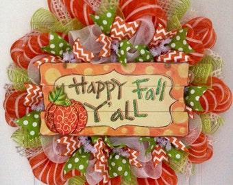 Happy Fall Y'all Glittering Autumn Wreath Handmade Deco Mesh