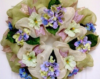 Lavender And Lace Mint Burlap Hydrangeas Deco Mesh Spring Or Summer Wreath