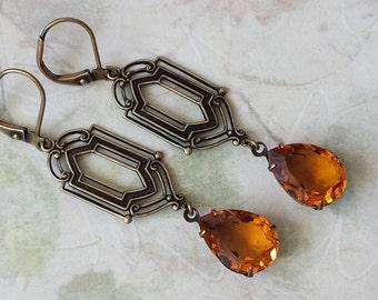 Topaz Crystal Earrings, Long Drop Earrings, Swarovski Teardrop Earrings, Crystal Rhinestone Earrings, Topaz Earrings, Rhinestone Earrings