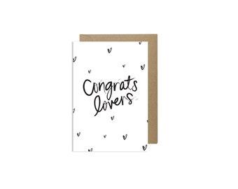 Cute Engagement Cards Wedding Congratulations Card CONGRATS LOVERS