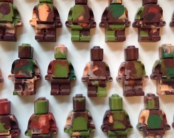 25 Army LEGO Figure Crayons, LEGO Party Favor, LEGO Birthday, Classroom Valentine, Recycled crayon, stocking stuffer, military party favor