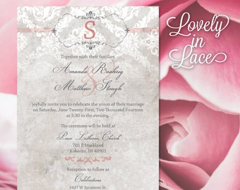 Wedding Invitation and RSVP—Gray and pink lace