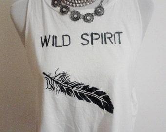 White vest top / feather design /Wild spirit logo