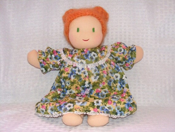 Waldorf doll, Handmade doll, custom doll, 12 inch doll, cloth doll, natural doll, girl doll, doll with red hair and green eyes!