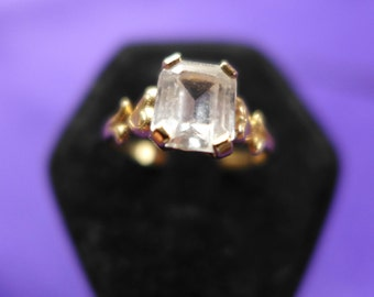 Estate Vintage -Solid- Gold-Ring-14KT-Size- 6- Center Single ClearGlass CZ  Engagement Ring