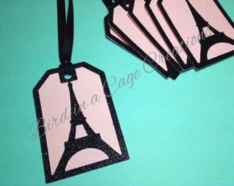 Paris Party Tags (City of Light, Ooh La La Party Tags, Paris Theme, Thank You Tags, Bridal Shower Tags, Baby Shower Tags, Eiffel Tower)