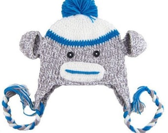 Blue Sock Monkey - Crochet Kids Hat