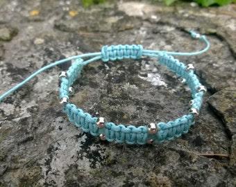 Baby Blue Macrame beaded bracelet