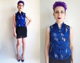 Vintage Chinese Top Vintage Cheongsam Top Blue Silky Floral Top Women's Size Small