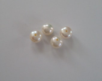 4 pcs White Freshwater Round Pearls Slightly Pink Jewelry Making Tools Supplies Beads
