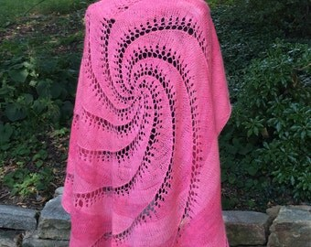 Merino and Angora Pi shawl in heartbreaker pink