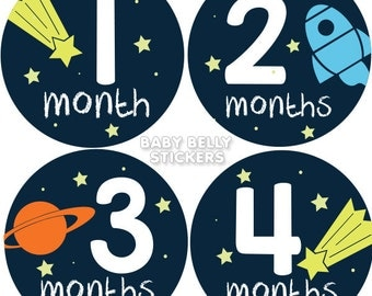 Baby Month Stickers, Monthly Baby Stickers, Bodysuit Stickers, Monthly Milestone Stickers, Baby Monthly Stickers, Baby Belly Stickers, Space