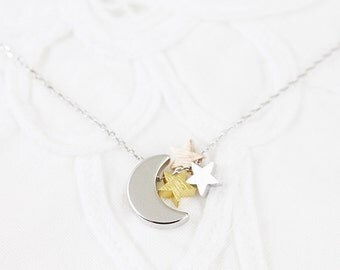 Crescent Moon and Star Necklace Bridesmaid Gift Bridesmaid Necklace Wedding Jewelry Dainty and Delicate Necklace