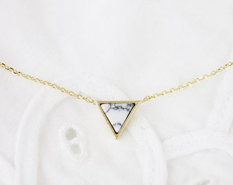 Gold Framed White Marble triangle Pendant Necklace Bridesmaid Gift Bridesmaid Necklace Dainty and Modern Necklace Birthday Gift