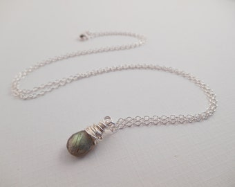 Sterling Labradorite Necklace - Sterling Silver Wire Wrapped Labradorite Briolette Necklace