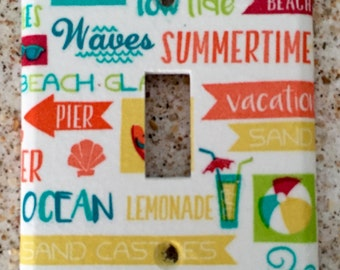 Beach signs light switch cover