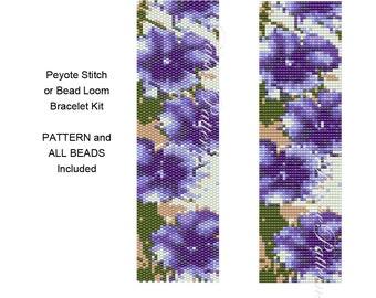Purple Pansies Bead Loom Weaving Bracelet KIT or Peyote Stitch Bracelet Kit P15 - Pattern and Delica Bead Colors Included