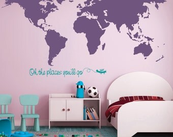 Map Wall Decal Etsy - Locations where sell wall decals