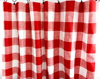 Checkered curtain | Etsy