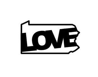 Love Pennsylvania State Di Cut Vinyl Decal - Car/Truck/Home/Laptop/Phone Decal