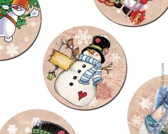 Digital Collage Sheet Snowman  Christmas New Year 1 inch round images Vintage Scrapbooking Pendants Printable Original 4x6 inch sheet  226