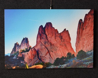 """Garden of the Gods Colorado 16x24 Photography Print Mounted on 3/4"""" Red Rock Landscape Sunset Photograph Wall Decor"""