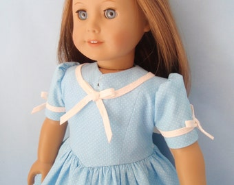 American Girl Doll Emily Molly Forties Fashion 18 Inch Doll Dress Lt Blue and White Microdot
