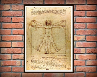 Vitruvian man on manuscript, Leonardo da Vinci manuscript reproduction, poster art, vintage art print *8*