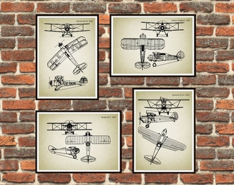 Set of 4 prints, Biplanes prints Schematic Print, Yellow, Gloster-Gladiator, Heinkel, Kawasaki, Vought, Airplanes print *12*