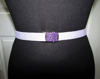 Vintage Light Purple Web Canvas Adjustable Belt With a Removable Multi Colors Rhinestones Metal Buckle XS S M