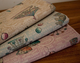 140cm / 55 inch Width, Half Yard, English Vintage Circus Linen Cotton Fabric
