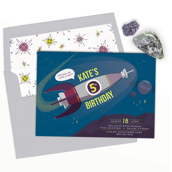 outer space birthday party invitation for girls or boys astronaut