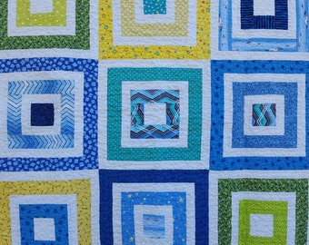 Baby boy squares quilt - modern baby boy patchwork quilt - baby shower gift - minky baby quilt