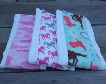 Set of 3 burp cloth-cow girl burp cloth-fannel diaper burp cloth-rodeo,camouflage,hores