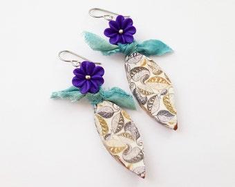 Purple Flower & Porcelain Leaf Earrings