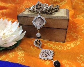 American Diamond Earrings with black stone