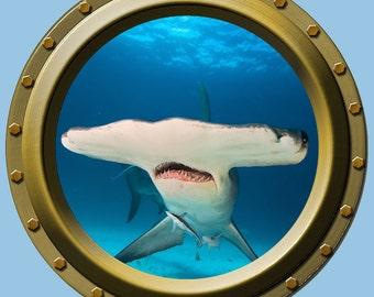 Hammerhead Shark Porthole Wall Vinyl Fabric High Quality