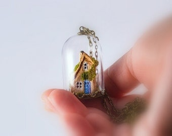 Miniature House Necklace, Glass Cloche Pendant, Clay House, Glass Dome, Miniature Cottage, Diorama, Miniature Jewelry, Clay Cottage