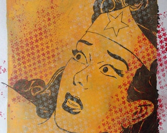Sensational Wonder Woman Monoprint