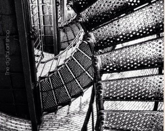 Digital download lighthouse staircase black and white photography  photo art