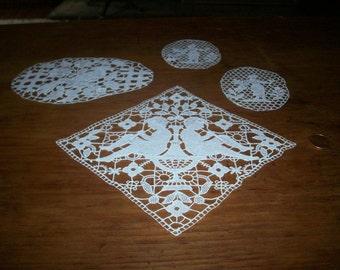 1800s antique figural lace applique 3 different designs