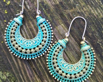 Verdigris - Rusty Mossy Turquoise Green Tribal Earrings With Handmade Hypoallergenic Titanium Ear Wires - Gypsy - Hippy - Ethnic - Boho