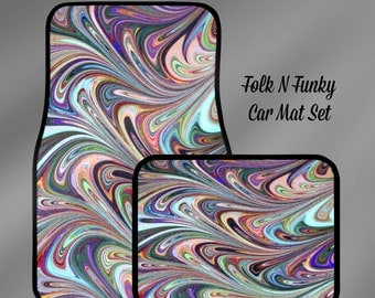 Car Floor Mats Funky Swirls Colorful  FULL Set or Just Fronts