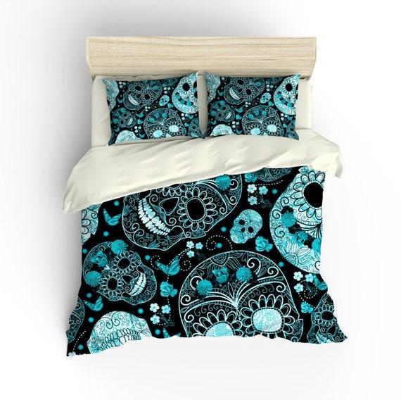... Set, Skull Bedding,Teal Aqua Lagoon Color, Twin, Queen, Full King