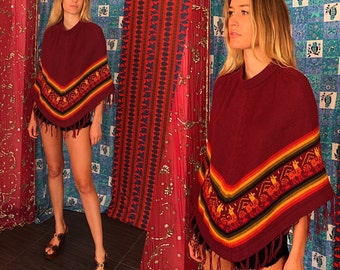 Mexican Embroidered Poncho Boho Ethnic Fringe Poncho 70s Hippie Poncho