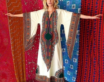 SHANNONMYINDI10 70s Indian Dashiki Kimono Caftan OS