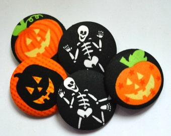 Set of 5 large 2 inch assortment of Halloween fabric covered Sewing Buttons